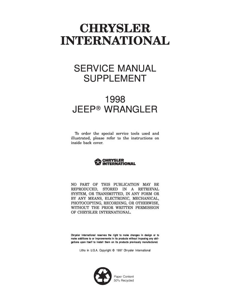 97-06 Jeep Wrangler Tj Service Manual and Parts Catalogs in PDF